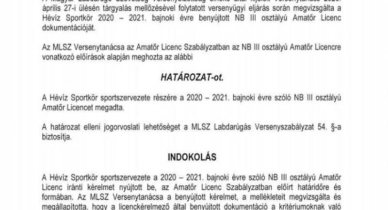 Megkaptuk az NBIII-as licencet